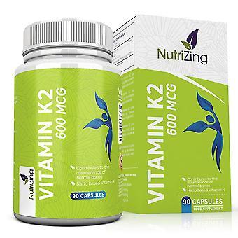 Vitamin k2 mk-7 600mcg by nutrizing - fermented natto based vegan vitamin k - 90 capsules - supports