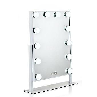 LED مزدوجة اللون ضوء مرآة 360 درجة استدارة مرآة ماكياج سطح المكتب