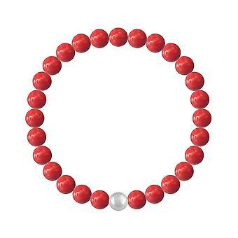 Rode koraalparel armband gemaakt met swarovski kristallen