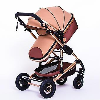 High Landscape Baby Stroller 3 In 1 With Car Seat Pink Stroller