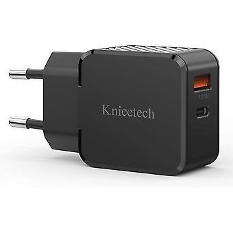 USB C Ladegert,Knicetech iPhone Ladegert 18W, Schnellladegert,Fast Charger PD& QC3.0 Typ C fr