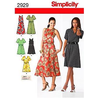 תבנית תפירה פשטות 2929 מתגעגע שמלת משיכה שני אורכים גודל 20W-28W