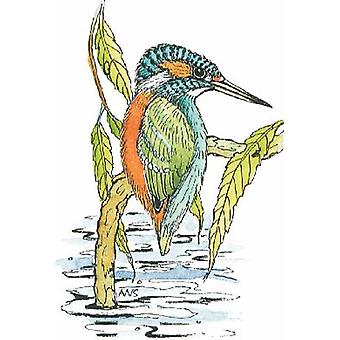 Kingfisher Wood Mounted Stamp