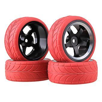 Schwarze Legierung 5 Speichen Rad Rand & rot Pfeil Reifen für RC1:10 auf der Straße Auto Set von 4