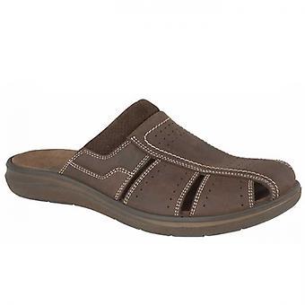 IMAC Samwell Mens Waxy Leather Mule Sandals Brown