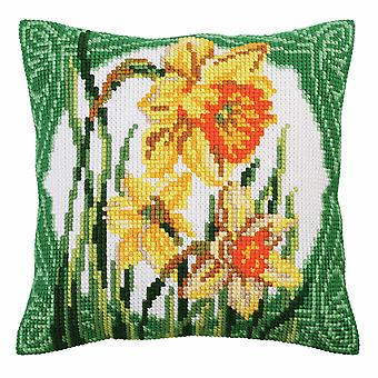 Collection d'Art Cross Stitch Kit: Cushion: Narcissus