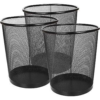 DZK 3 Pack Mesh Waste Paper Bin 12 Litres Metal Waste Basket Small Trash Can Rubbish Bin for