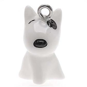 Hand Painted Bull Terrier Puppy Dog Jewelry Charm 21.5mm