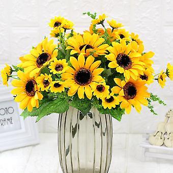 5pcs flores artificiales sunflower casa decoración flores secas falsa flor