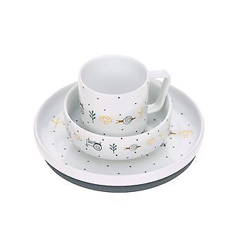 FengChun Geschirrset Porzellan Kindergeschirrset Teller Schüssel Tasse mit Silikonring rutschfest