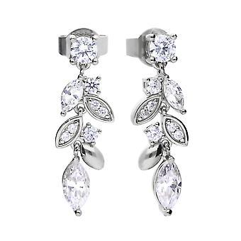 Diamonfire Womens 925 Plata esterlina Rodio, Paladio &Platinum Plated Clear Cubic Zirconia Leaf Design Pendientes colgantes