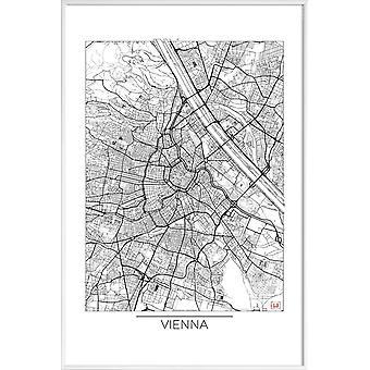 JUNIQE Print - Vienna Minimal - Vienna Poster in Black & White