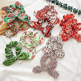 10Pcs cravatte per capelli christmas flanella orecchie di coniglio ragazza anello capelli