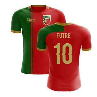 2020-2021 البرتغال العلم المنزل مفهوم كرة القدم قميص (فوتر 10)