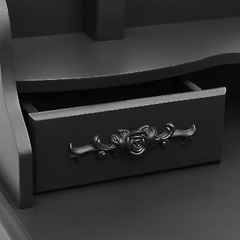 vidaXL kaptafel set met kruk Zwart 75x69x140cm Paulownia hout