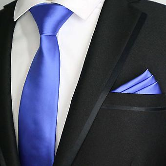 Pearl sininen kiinteä satiini viimeistely ohut tie & tasku neliö