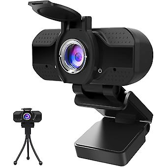 كاميرا ويب 1080P مع الميكروفون وغطاء الخصوصية، كامل HD 1080P USB كاميرا ويب مع ترايبود، لمكالمات الفيديو، والدراسات، والمؤتمرات، واللعب والاتصال، ثابت التركيز HD كاميرا ويب (أسود)