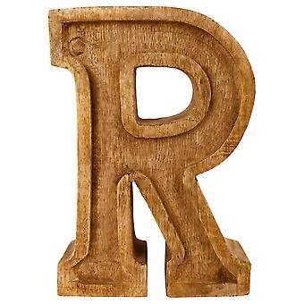 Bokstav R Handsnidad trä präglad
