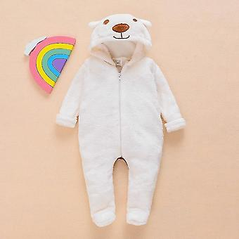 Winter Baby Jumpsuit Fur Cartoon Bear Long Sleeve Zipper Hooded