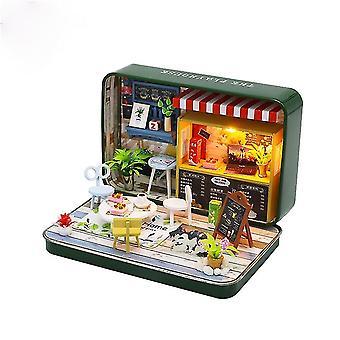 בית בובות מיניאטורי חדש סימן תיבת ברזל תיאטרון מיקרו נוף diy צעצוע בית עץ 3D ילדים התאספו בעבודת יד מתנה צעצוע חינוכי
