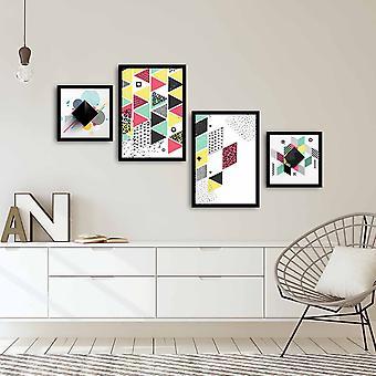 4PSCT-02 Flerfärgad dekorativ inramad MDF-målning (4 stycken)