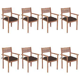 vidaXL Sillas de jardín apilables con cojines 8 piezas de teca de madera maciza