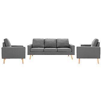 vidaXL 3 pcs. Sofa set fabric light grey