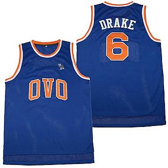 Herrarnas Ovo #6 Blue Basketball Jersey Msg Nyc With Owl Patch S-xxl, mode 90-talet Hip Hop Clothing For Party, Sydda bokstäver och siffror