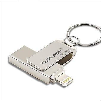 Unità flash USB per iPhone X/8/7/7 Plus/6/6s/5/SE/ipad 2 IN 1 Memory Stick unità penna 64GB metallo