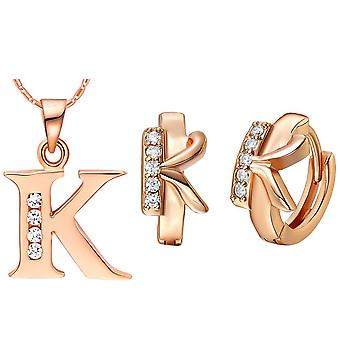 (K)  Alphabet Rhinestone Womens 26 Initial Letter Huggie Earrings Necklace Jewelry Set Rose Gold