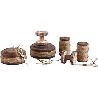 Set of Nine Antique Wooden Spools and Scissors