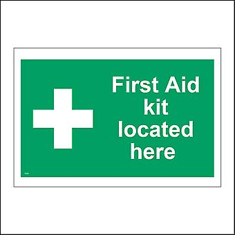 FS225 First Aid Kit Located Here Sign with First Aid Cross