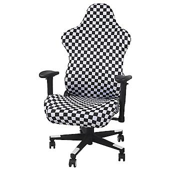Swotgdoby Black And White Grid Stretch Gaming Chair Cover