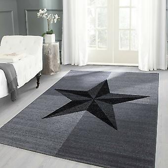 Pila corta Sala de estar Alfombra Diseño Patrón estrella Brújula Gris rosa Negro moteado