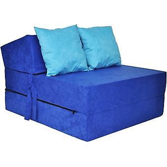 Ylellinen makuupatja - sininen - leirintäpatja - matkapatja - taitettava patja - 200 x 70 x 15 - vaaleansinisillä tyynyillä