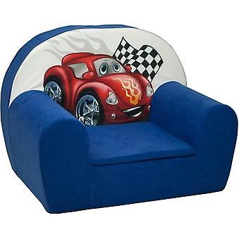 Luxe kinderstoel - kinderfauteuil - sofa - 60 x 45 - donker blauw - cars