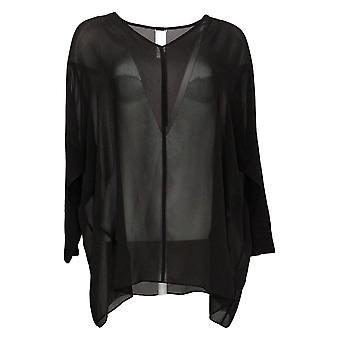 WynneLayers By MarlaWynne Women's Top S Sheer Layering Blouse Black 633854
