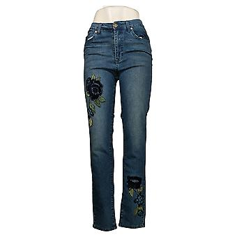 DG2 by Diane Gilman Women's Jeans 4T Tall Skinny w/ Embroidery Blue 681550