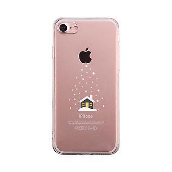 Snowing House Winter Transparent Phone Case Cute Clear Phonecase