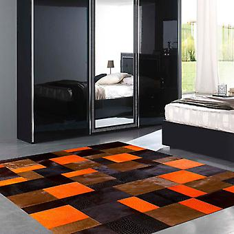 Rugs -Patchwork Leather Cubed Cowhide - Orange Rivoli