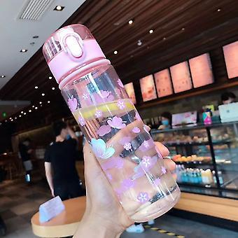 Auslaufsichere Wasserflasche für Mädchen, hochwertig, Kunststoff, tragbar, zum Wandern, Radfahren, Outdoor-Sport, 500ml