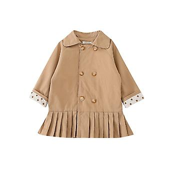 Girls' Breasted Windbreaker Autumn New Mid-length Jacket Dress Stitching Pleated Dress Long Coat Toddler Girl