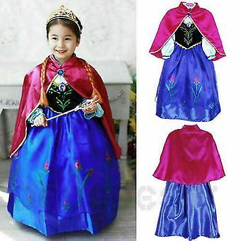 Anna Princess Dress Queen Cosplay Costume Children Party Dress Blue Cloak Crown