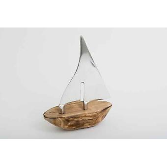 34cm Boat Decoration Gift Item Wooden With Aluminium Sails For Sea Lovers
