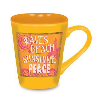 Tegn på stranden bølger solskinn fred solrik gul 15 unse Kaffe Latte kjærlighet krus