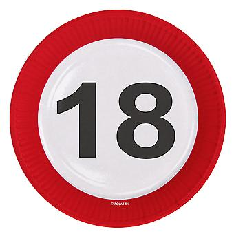 Party plate traffic sign number 18 birthday plates 8 PCs paper plates party