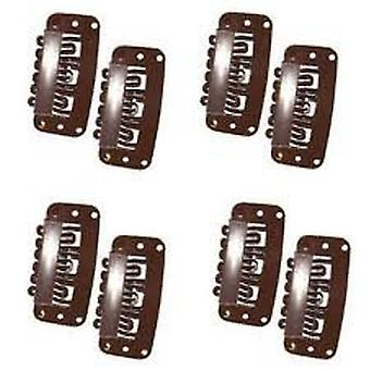 Boolavard® TM 50pcs U Shape Snap Clips for Hair Extensions,snap clip,single clip,Dark Brown