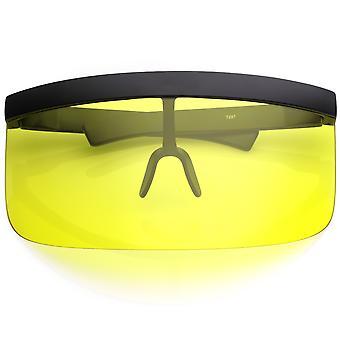 Futuristinen ylikoko kilpi visiiri aurinkolasit Flat Top värillinen Mono linssi 172mm