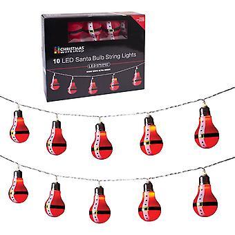 Christmas batteriebetrieben Workshop 10 LED Santa Retro-Birne geformt, Lichterketten, Kunststoff, rot,