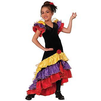Flamenco Tänzerin Deluxe Latin Spanisch Spanien Senorita Buch Woche Mädchen Kostüm